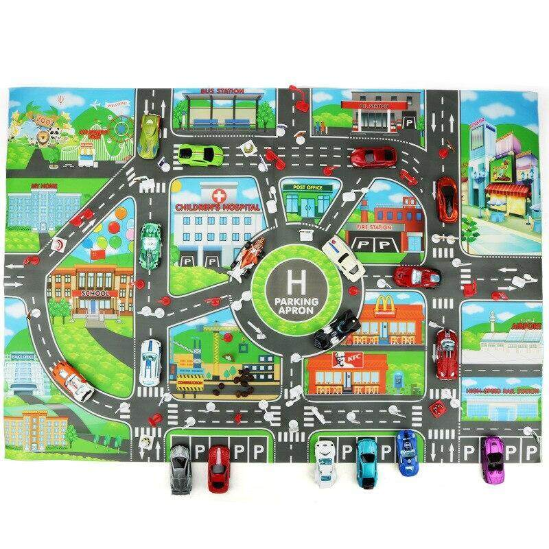 1pcs 83*58CM Kids Toy City PARKING LOT Roadmap Creative Cartoon Early Childhood Education Supplies DIY City Map Climbing Mats Only Map