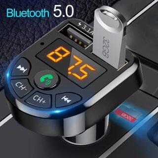 Máy nghe nhạc MP3 sạc nhanh 3.1A, Bluetooth 5.0, Bộ thu âm thanh không dây rảnh tay với bộ sạc xe hơi USB kép cho Huawei iphone12 Samsung Xiaomi (không có đĩa U) thumbnail
