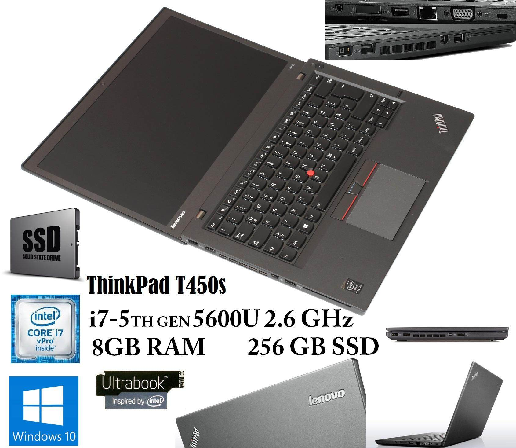 REFURBISHED Lenovo ThinkPad T450s - 14 - Core i7 5600U - 8 GB RAM - 256 GB SSD Malaysia