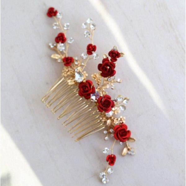 Khăn Trùm Đầu Hoa Hồng Đỏ, Dành Cho Nữ, Prom Rhinestone Bridal Phụ Kiện Tóc Chải Trang Sức Tóc Cưới Thủ Công