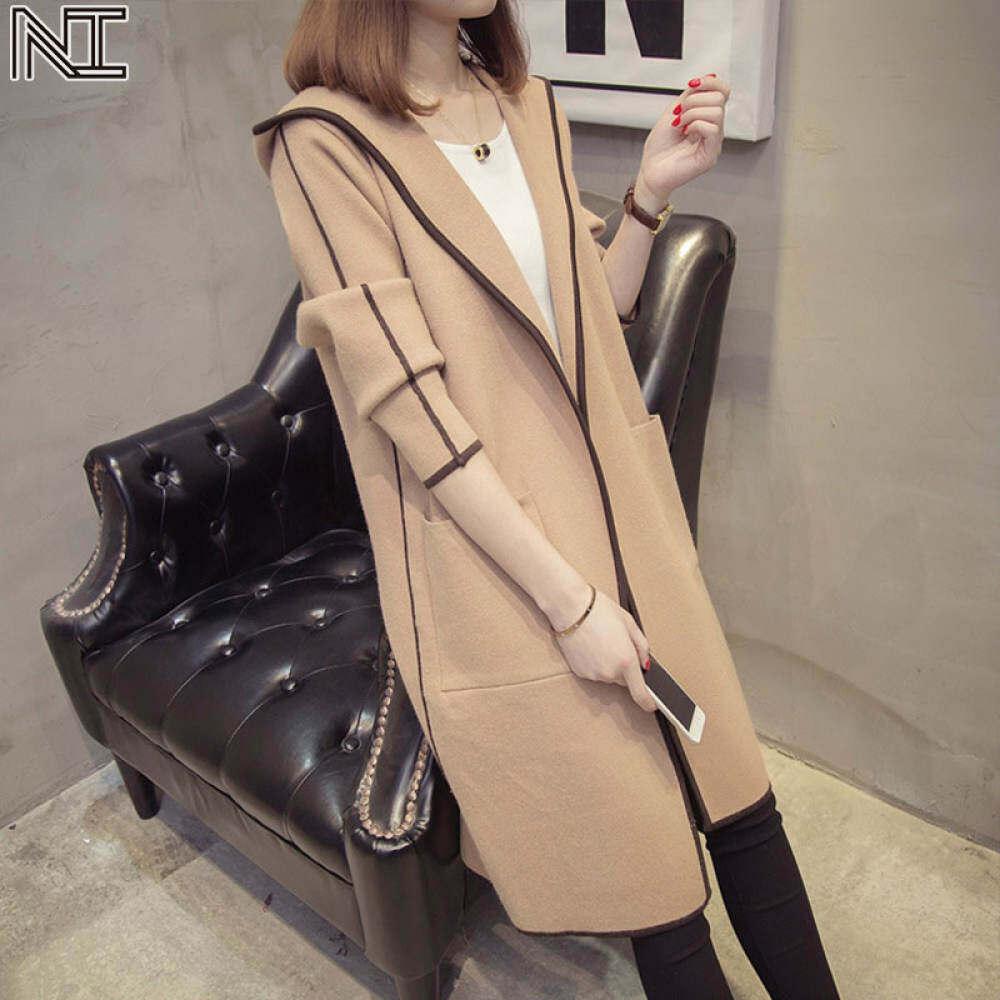 NI Winter Jackets for women new style windbreaker hooded jacket mid-length loose plus velvet thick windbreaker