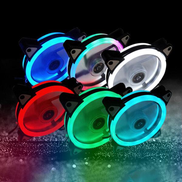 Valeriee Đèn LED Khẩu Độ Hai Mặt Đèn LED RGB Tản Nhiệt Vỏ Máy Tính Quạt Làm Mát