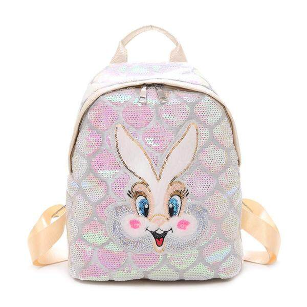 Sequins Women School Backpack Glitter Cute Cartoon Girl Travel Shoulder Bag
