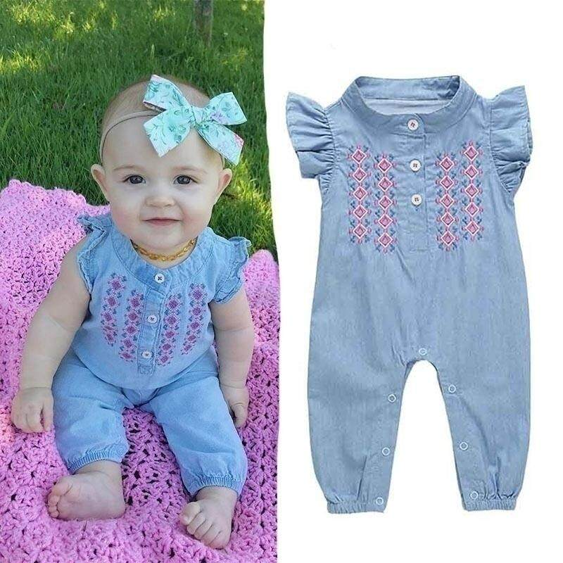 e6dab1d354f8 Denim Style Baby Romper Newborn Baby Boys Romper Girls Playsuits Cotton  Short Sleeve Striped Baby Clothes