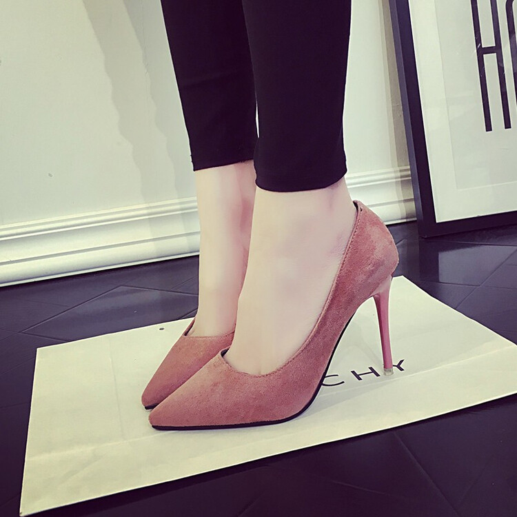 5 Cm Korean Style Suede Elegant Pointed Semi High Heeled Shoes Source · Rp 278 000