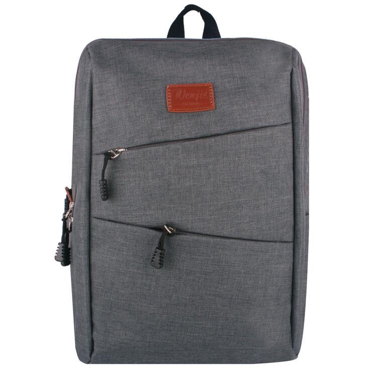 08 Ransel Ganteng Beg Tas Bungkus Laptop Wanita Pria Perjalanan Antik Teenage College Ganda Bahu Sekolah-Abu-abu-Internasional