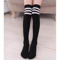 7b5ae0fb309 1 pair Cotton Casual Knee High Long Socks with White Stripe Sport Stockings  for Kids Girl