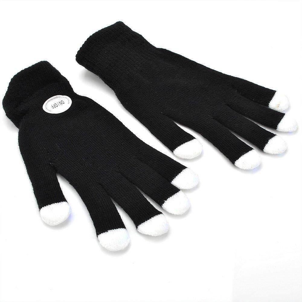 1 Pair Of 7 Mode LED Rave Light Finger Lighting Flashing Glow Gloves Black - intl