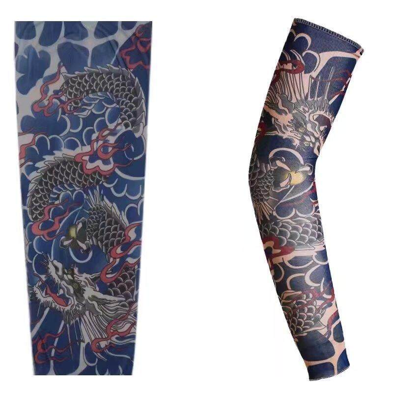 ZhanRong 1 pair (Size L) Tattoo Arm Sleeves Cooling Soft Women Man Running Outdoor