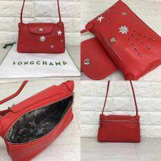 3e5f871c7a2f 100% Authentic Longchamp Le Pliage Cuir Etoiles Limited Edition Leather  Mini Crossbody Bag-Red