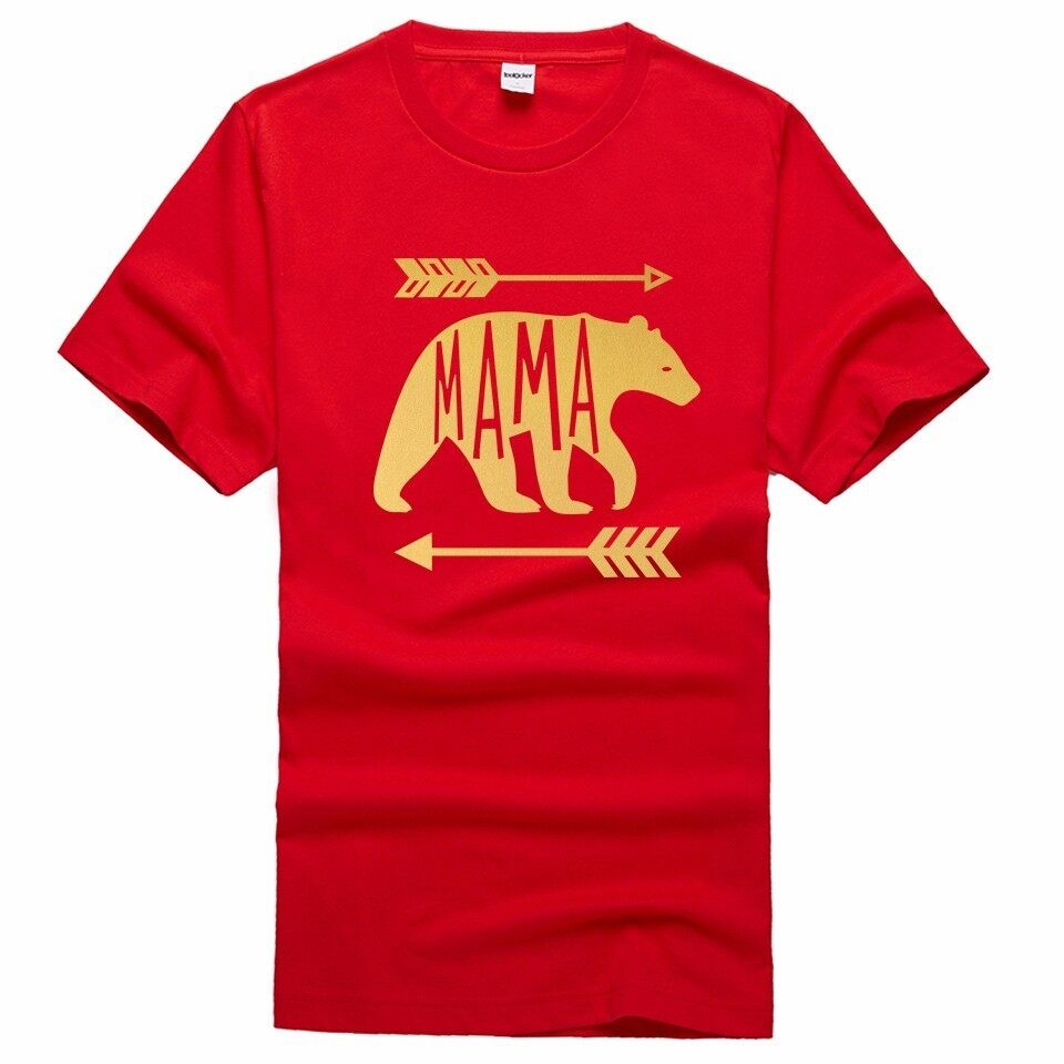 100% Cotton Golden MAMA BEAR Letters Print Short Sleeve Men Cotton T Shirt Red - intl