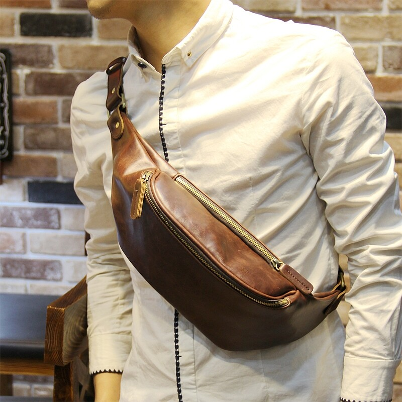 100% Genuine Cow Leather Crossbody Bags New pockets mens small chest bag mens casual small waist bag male outdoor package - intl