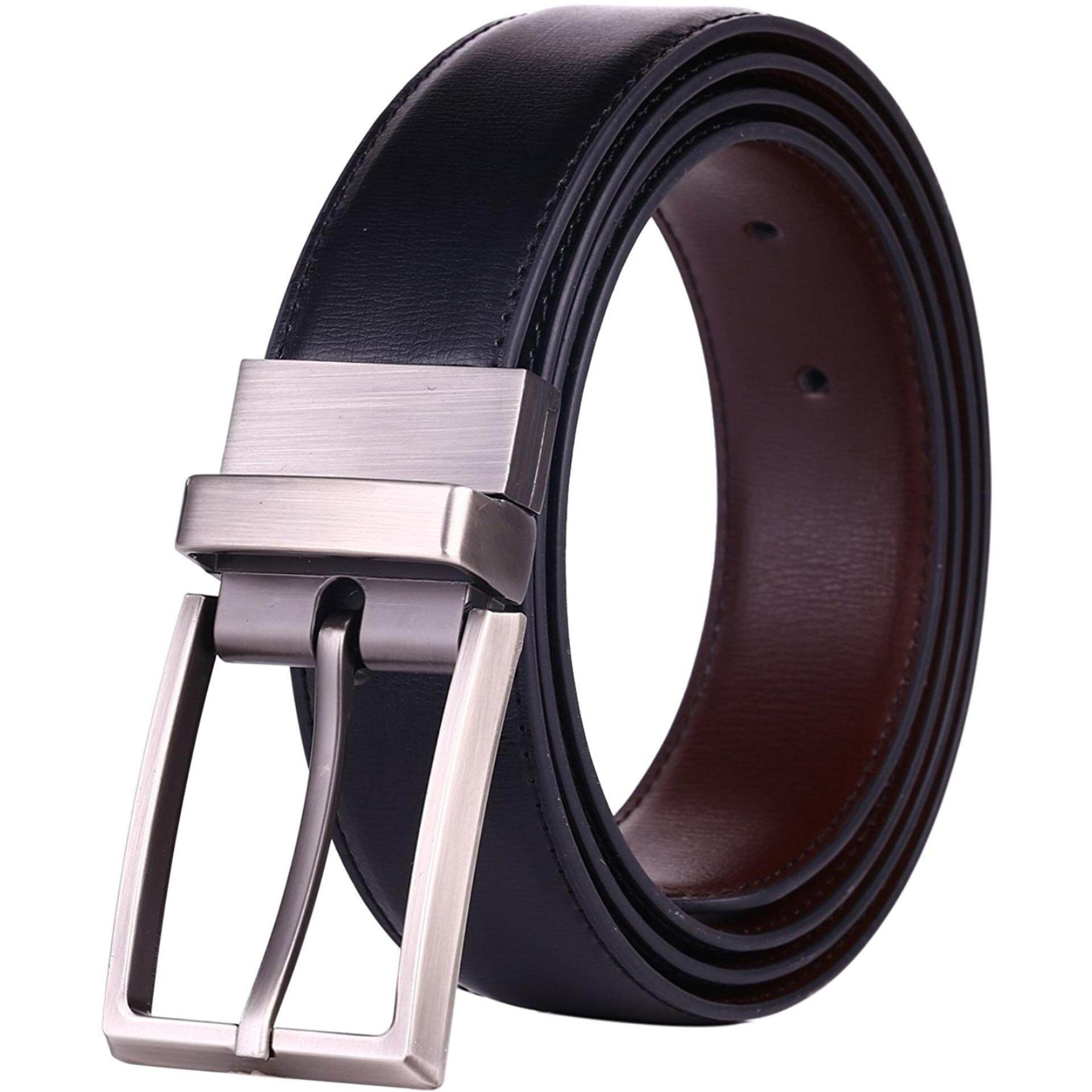 Purchase 【125Cm】Q Shop Men S Leather Belt Premium Quality Reversible Rotated Buckle Belt With Gift Box Black Brown Intl