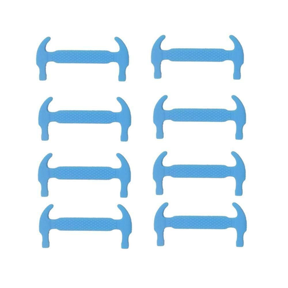 12 Pcs Tali Sepatu Silikon Elastis Tidak Dasi Bentuk Palu Sepatu Sneaker Laces untuk Olahraga Luar Ruangan Latihan-Internasional