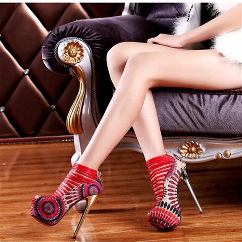 16cm High Heels Sandals Women Shoes Pumps Platform Gladiator Sandals Party Sandalias Mujer-Red By Xyx.