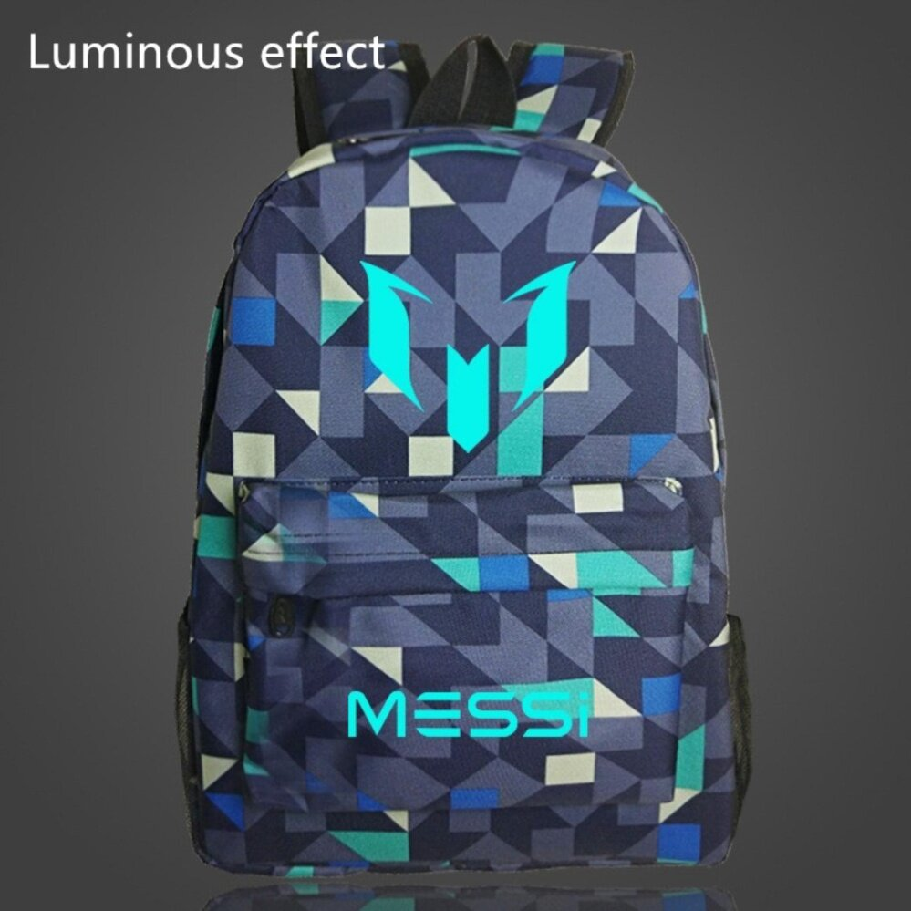 18.5inch Lattice Grid Barca Backpack Lionel Messi Glow Backpack Luminous  Printing Backpack Star School Bags cc2da39746229