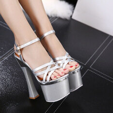 18cm Women Plus Size Ankle Strap Shoes Height Square Super High Heel Round Toe Platform Pumps By Ylkj.