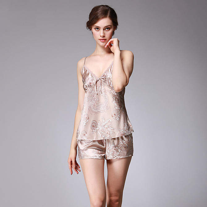 2 pcs Slip Dress Shorts Women Summer Sexy Lingerie Silk Floral Night Dress  Nightwear Sleepdress Loungewear bdd23e88c