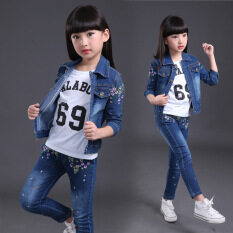 New Autumn And Winter Girl Cowboy Leisure Suit Girl Clothing Suit Leisure Jacket+pants By Silent Flower Online Store.