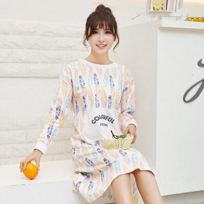 1adf48f8a8  Free Shipping 2017 Female Cotton Long Sleeve Nightdress Autumn Winter  Korean Cute Sleep Wear