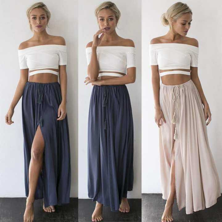 2017 Hot Women Sexy Summer Dress Boho Maxi Skirt Beach Dress Tops Slim S M L XL(Beige)