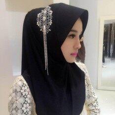 2017 Kerudung Muslim Dicetak Instan Syal Jersey Syal Kain Sifon Amiraslip Di Syal Wraps Ikat Kepala Wanita Length100cm-135cm Black Beauty COME10707