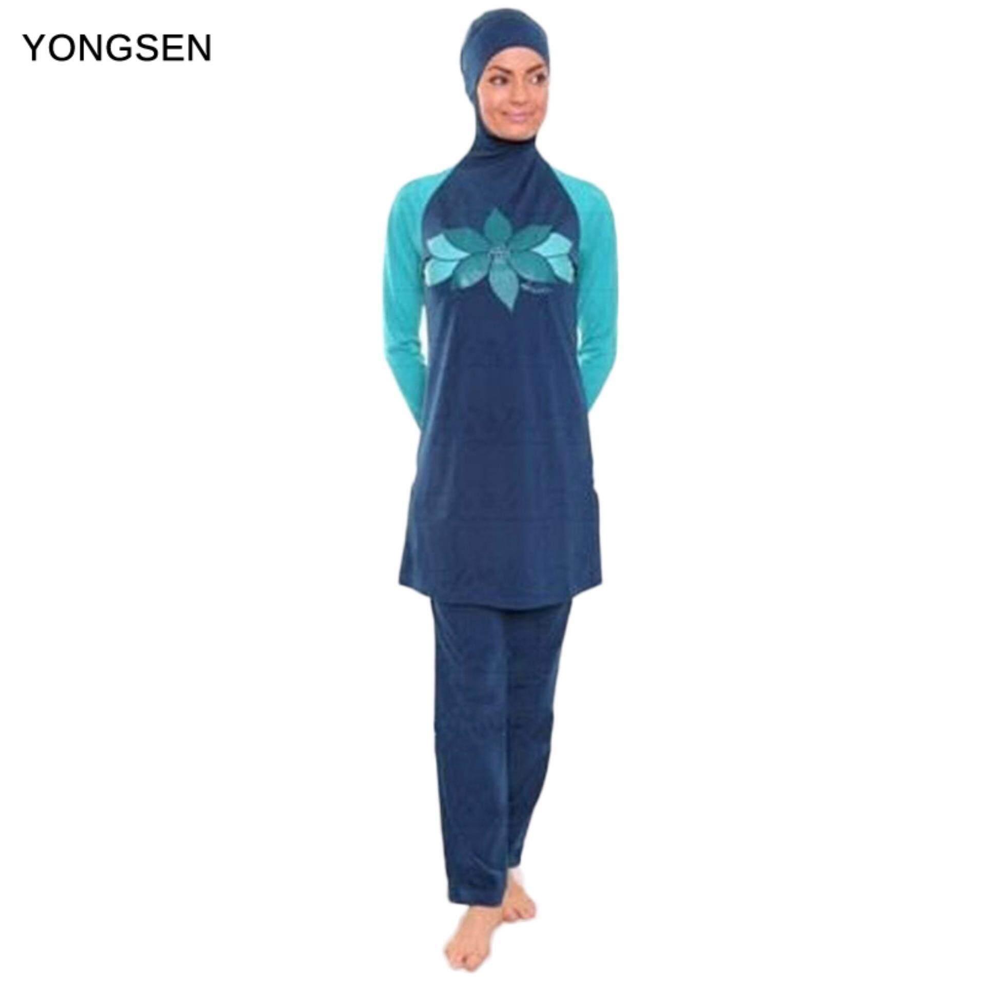 c5767464d YONGSEN Muslim Swimwear Islamic Women Modest Hijab Plus Size Burkinis Wear  Swimming Bathing Suit Beach Full