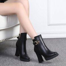 2017 New Autumn Winter Women Boots Solid European Ladies Shoes Pu Leather Fashion Boots Waterproof Side Zipper Shoes By Happy Buybuy.