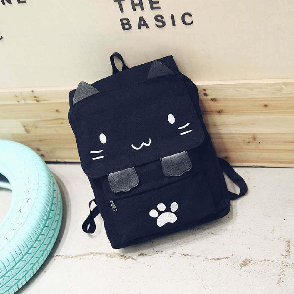 Eyqtous Korea Fashion Style Kampus Ransel Kucing Sekolah Model-Model Tas Hitam