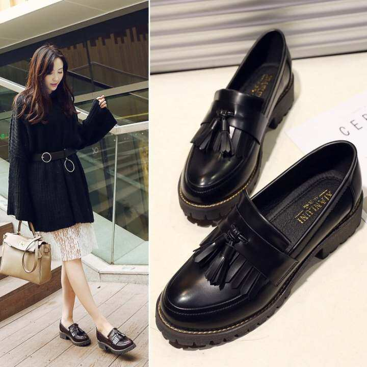 Man's/Woman's~2017 New New New Spring Autumn Briti Style Casual Fla Women Shoes Solid Fringe Ladies Loafers Slip-On Single Shoesl17195 (Black) ~Easy-To-Clean Surface b501b1