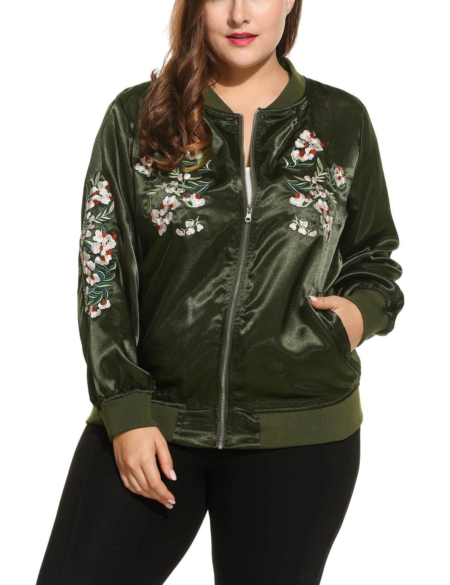 Latest New Sunwonder Women Fashion Retro Plus Sizes Long Sleeve Flower Embroidered Zip Up Bomber Jacket Intl