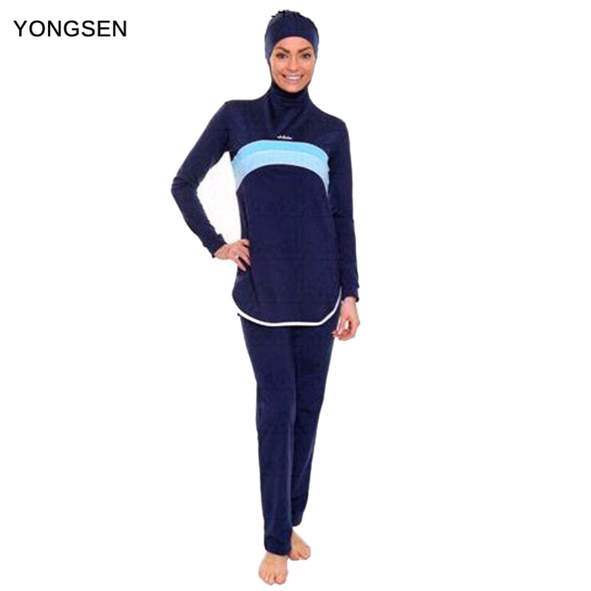 fef3167b5 YONGSEN Islamic Swim Wear Muslim Swimwear Full Cover Hijab Swimming Modest  Swimsuits Plus Size Women Burkinis