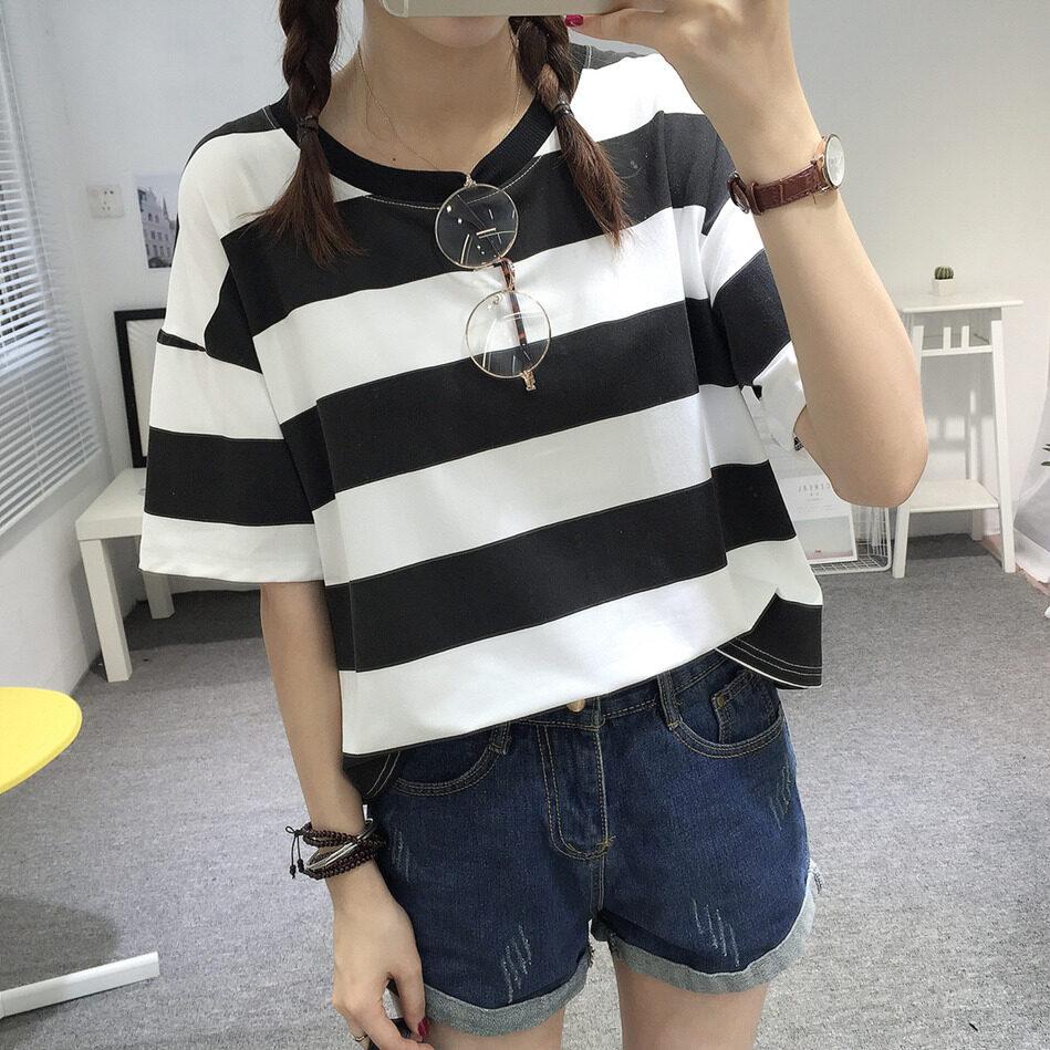 Korean Version Of The New Girl Striped Short-Sleeve T-Shirt (9210 Stripes