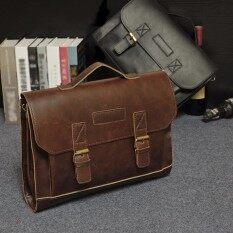 e595fdcbd0be 2017 Unisex Solid pu Leather Briefcase Man Bags Laptop Tote Bag Men s  Shoulder Bussiness Crazy Horse