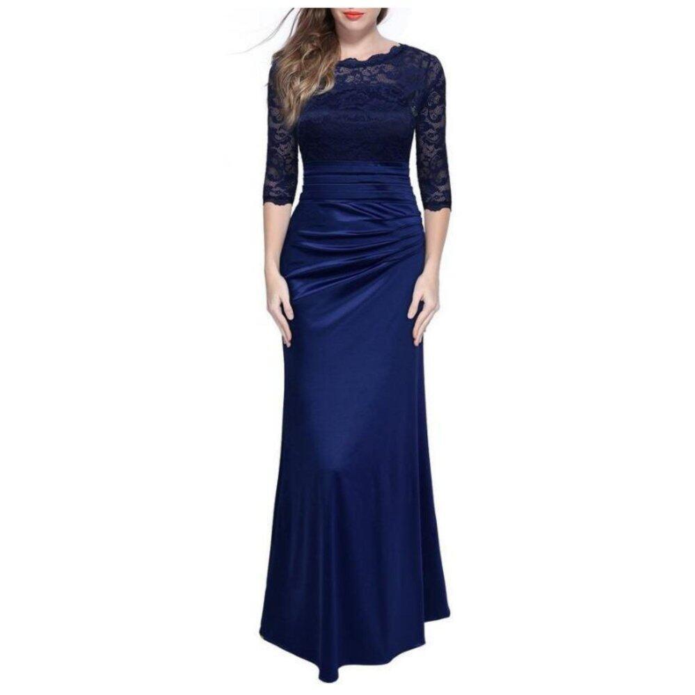 2017 Gaun Panjang Musim Dingin Wanita Pesta Malam Anggun Feminin Pernikahan Jubah Vintage Renda Bodycon Dress