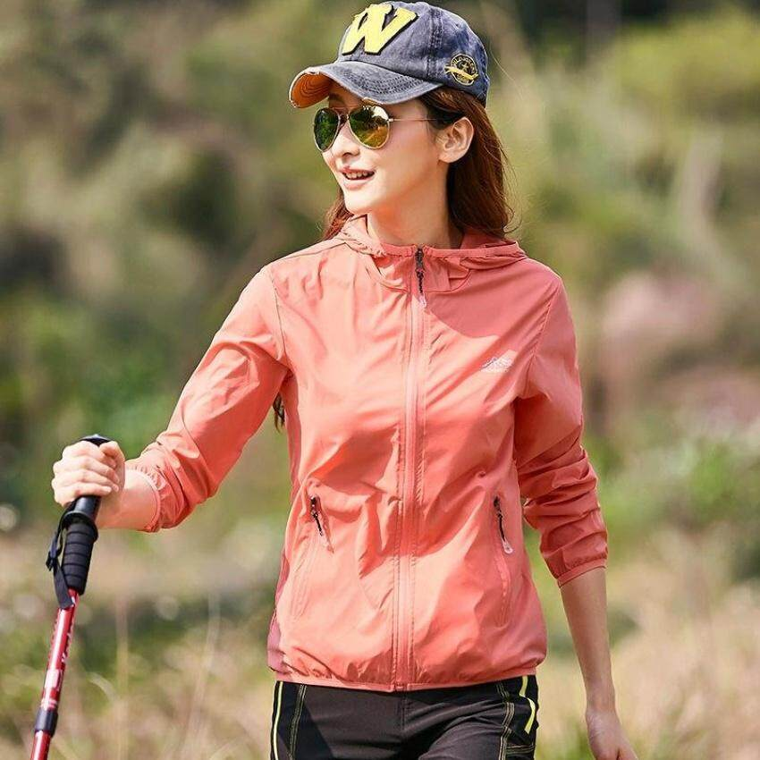 2017 Women New Style Lovers Outdoor Sport Windbreaker Sun Uvprotection Lightweight Quick-Dry Hiking Jacket-5818W Watermelon Red