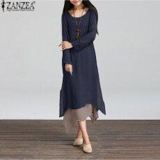 c2d1e3093f 2018 new cotton dress original women s literary relaxed large-size long-sleeved  dress(