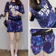 2018 Baru Gadis Kaus Fashion Atasan + Celana Pendek Olahraga Pendek Set Pakaian 2 Pieces (m-Xxl Ukuran) By Lct