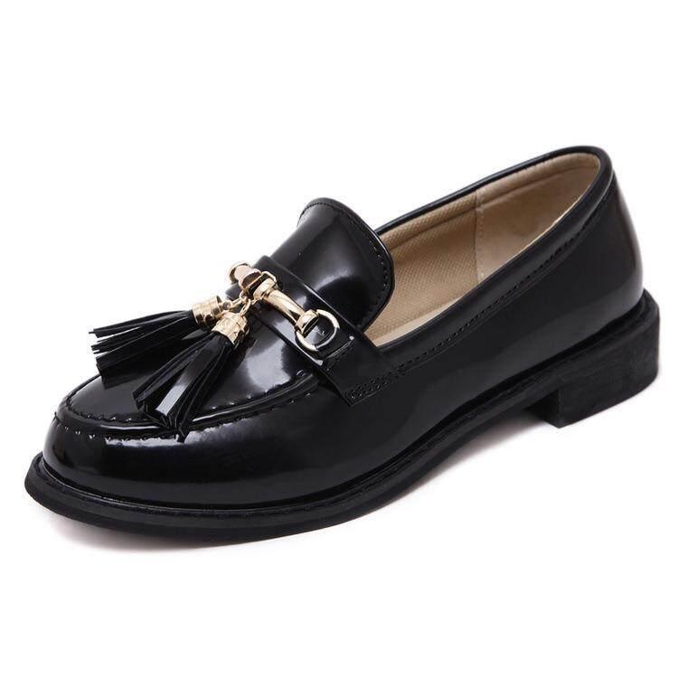 2018 Musim Panas Hitam Sepatu Kecil Wanita Rumbai Sepatu Tunggal: Paten Kulit Pembohong Retro Carrefour Inggris Angin Sepatu- internasional