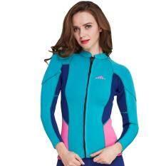 2mm Neoprene Women Long Sleeve Front Zipper Wetsuit Top Swimwear Snorkeling Diving Wetsuits Jacket Rashguard Coat