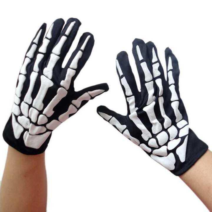 2Pcs Costume Adornment Halloween Skull Skeleton Bone Dress Monster Adult Gloves