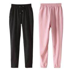 2pcs Womens Elastic Waist Casual Jogger Harem Pants Trousers Pink Black Size Xl By Duha.