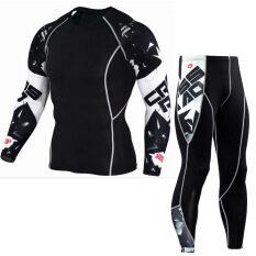 2pcs/Sets Men's Compression Run jogging Suits Clothes Sports Set Long t shirt And Pants