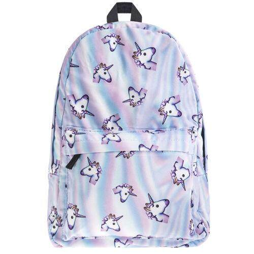Best Buy 3D Unicorn Print Multi Color Backpack Rainbow Sch**L Bag Travel Rucksack Satchel Intl