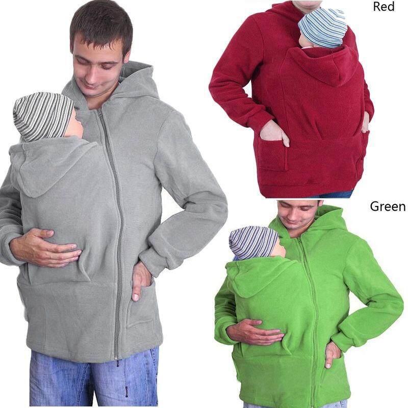 3in1 Babywearing Mantel Multifungsi Kanguru Carrier Jaket Membawa Mantel Maternity Pakaian Kehamilan Modis Uniseks 2 Dapat Dilepas Hoods (Grey) -Internasional