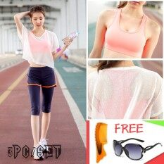 bfee530bbd 3PC SET Sports Bra+Shorts+Smock Running Gym Bodybuilding Yoga Clothes Slim  Quick