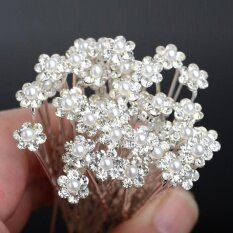 Women hair accessories with best online price in malaysia 40 pcs wedding hair pins crystal pearl flower bridal hairpins hair accessories junglespirit Gallery