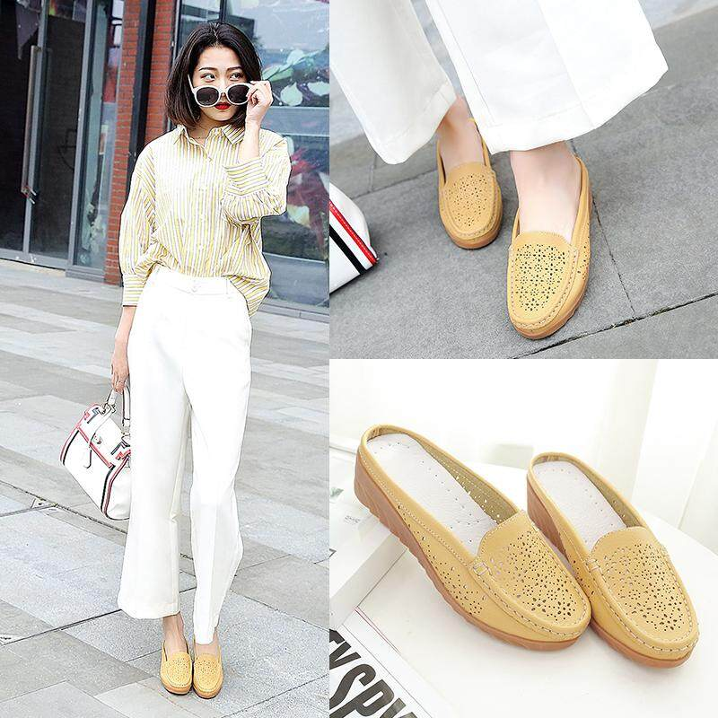 63099c4c606269 YJS Hot Sell Women s Sandals Summer Hollow Out Slipper Woman Flats Round  Toe Low Heel Casual