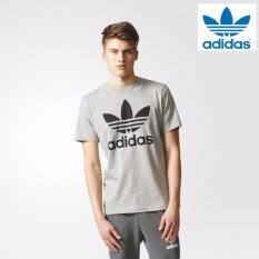 newest 85222 e8244 Adidas Men Originals Trefoil Tee Grey BK7466 100% Original
