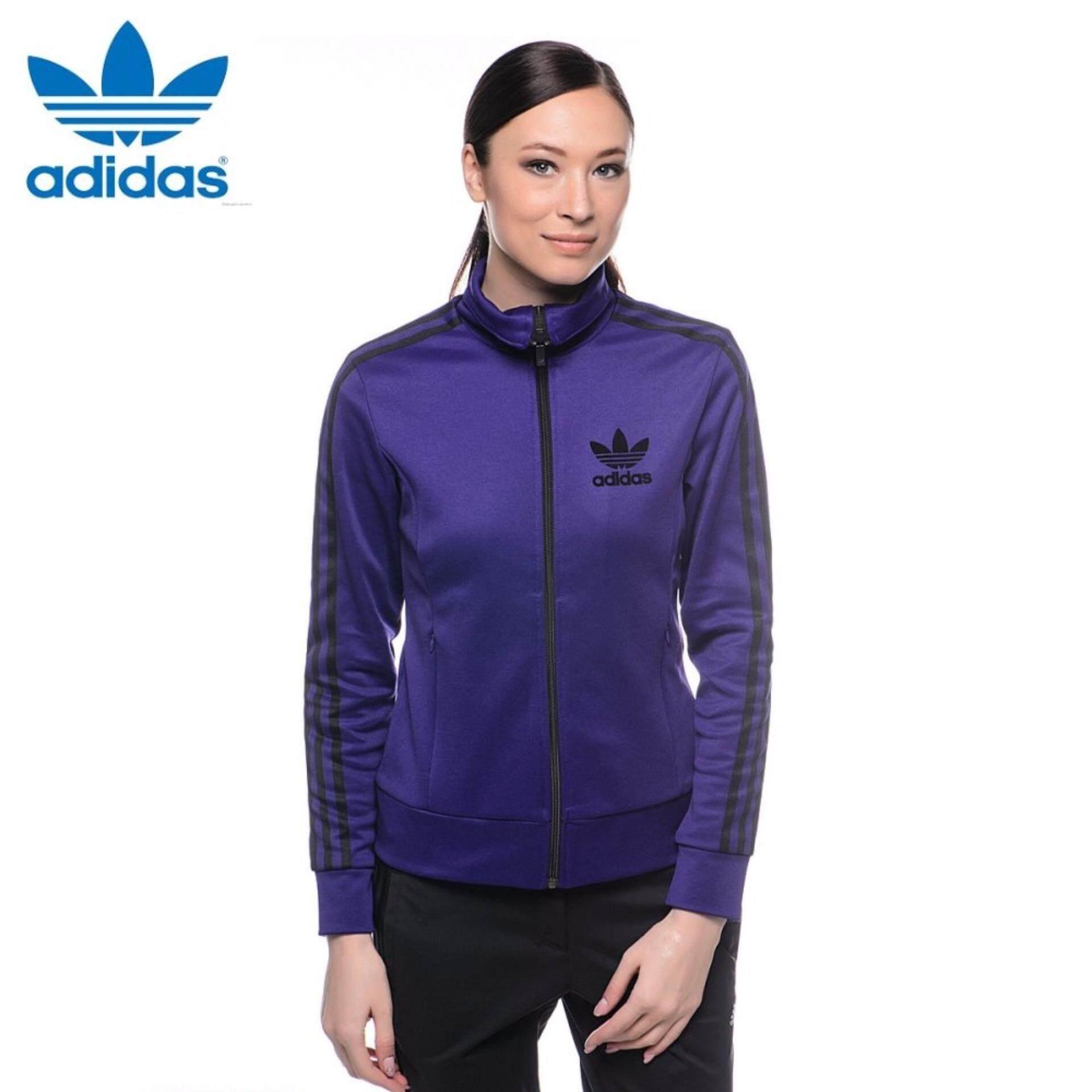 Adidas Asli Wanita Europa Jalur Jaket S19875 Ungu-Internasional